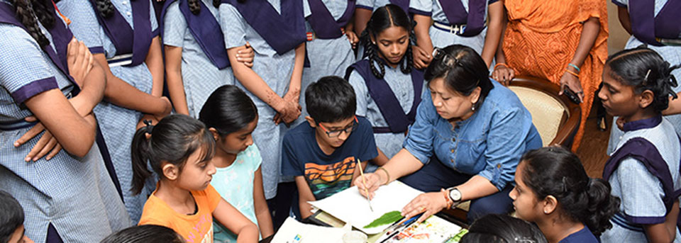 Botanical art workshop for school children, Heritage Telangana State Museum, 2019